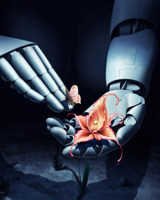 Art Robot Hand with Flower sfondi gratuiti per 320x480