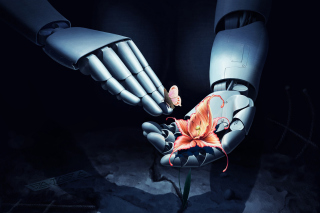 Art Robot Hand with Flower sfondi gratuiti per 1920x1408