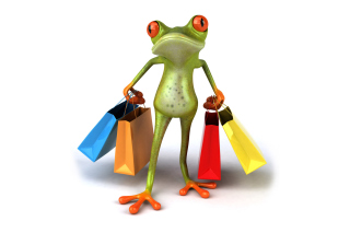 3D Frog Shopping Wallpaper for Android, iPhone and iPad