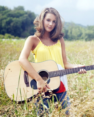 Girl with Guitar Wallpaper for Nokia Asha 308