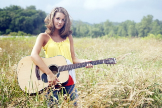 Girl with Guitar Wallpaper for 960x800