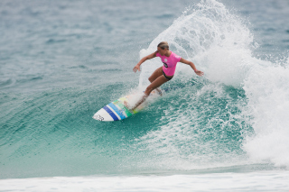 Girl In Pink T-Shirt Surfing Picture for Android, iPhone and iPad