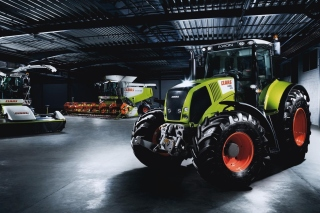 Tractors in garage Background for Android, iPhone and iPad