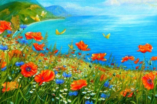 Summer Meadow By Sea Painting sfondi gratuiti per cellulari Android, iPhone, iPad e desktop