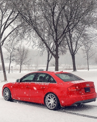 Audi A4 Red Wallpaper for 480x800