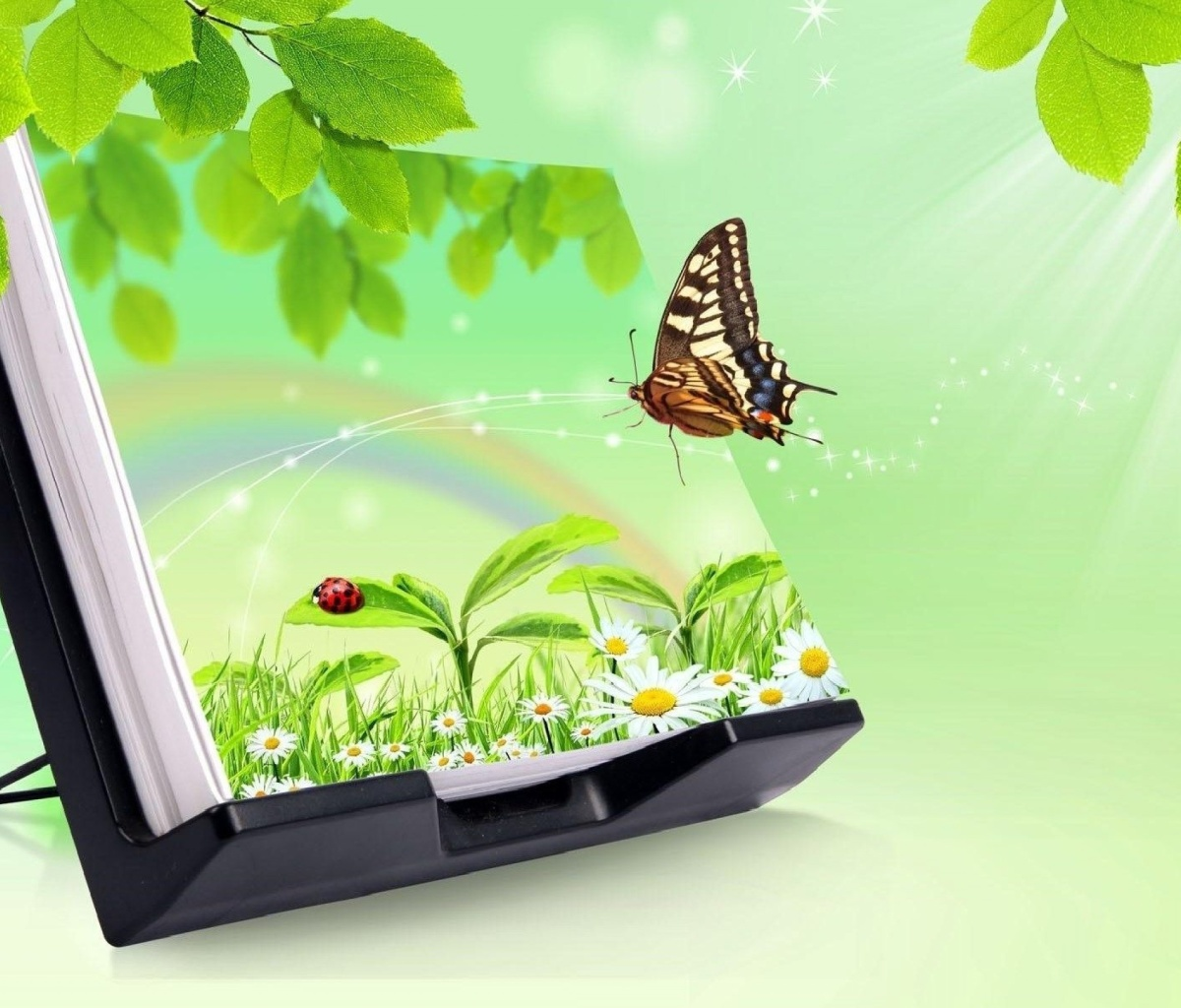 3D Green Nature with Butterfly screenshot #1 1200x1024