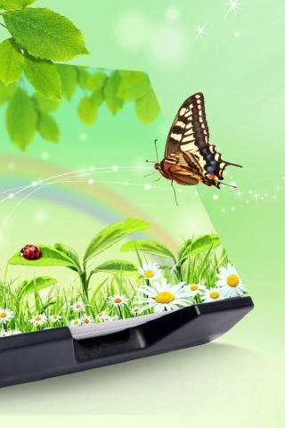 Sfondi 3D Green Nature with Butterfly 320x480