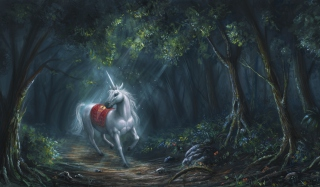Unicorn In Fantasy Forest Background for Android, iPhone and iPad