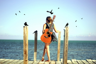 Girl With Guitar On Sea Background for Android, iPhone and iPad