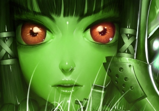 Green Anime Face Picture for Android, iPhone and iPad