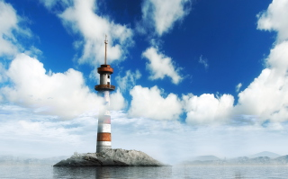 Lighthouse In Clouds - Obrázkek zdarma