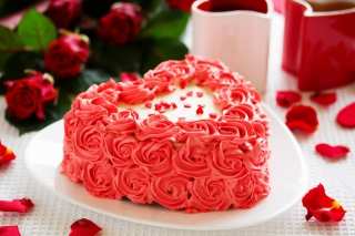 Sweet Red Heart Cake Wallpaper for Android, iPhone and iPad