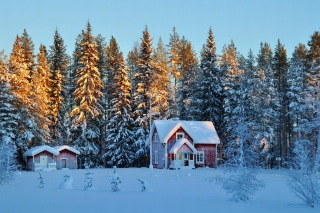 Home under Snow Background for Android, iPhone and iPad