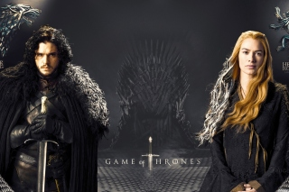Game Of Thrones actors Jon Snow and Cersei Lannister papel de parede para celular para Samsung Galaxy Tab 10.1