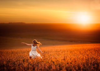 Little Girl In Fields Of Gold Wallpaper for Android, iPhone and iPad