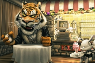 Bunnies and Tigers Funny Picture for Android, iPhone and iPad