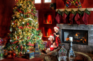 Family Christmas sfondi gratuiti per cellulari Android, iPhone, iPad e desktop