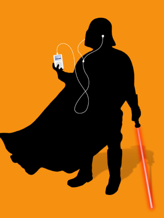 Darth Vader with iPod Background for 176x220
