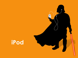 Kostenloses Darth Vader with iPod Wallpaper für Android, iPhone und iPad