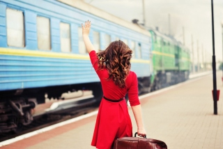Girl traveling from train station Background for Android, iPhone and iPad
