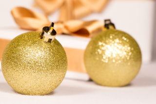 Gold Christmas Balls Background for 1366x768