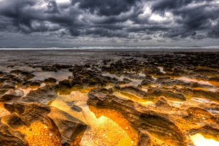 Free Hdr Dark Clouds And Gold Sand Picture for Android, iPhone and iPad