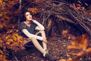 Free Girl In Autumn Forest Picture for Android, iPhone and iPad