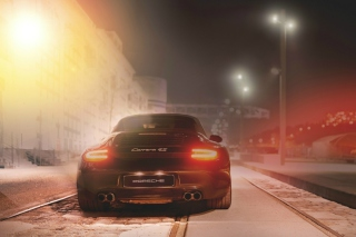 Kostenloses Black Porsche Carrera At Night Wallpaper für Android, iPhone und iPad