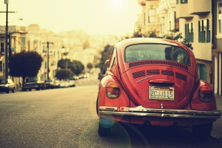 Free Vintage Red Volkswagen Beetle Picture for Android, iPhone and iPad