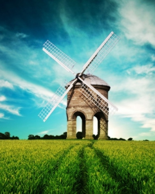 Windmill In Field Background for iPhone 6 Plus