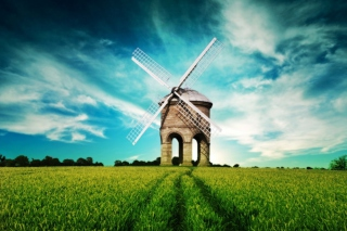 Windmill In Field Picture for Android, iPhone and iPad