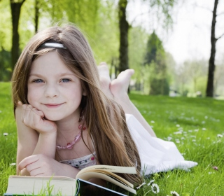 Cute Little Girl Reading Book In Garden papel de parede para celular para iPad mini