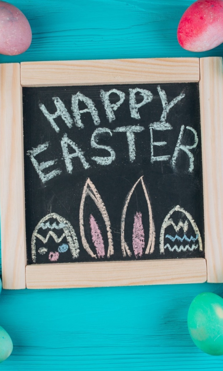 Das Easter Blue Background Wallpaper 768x1280