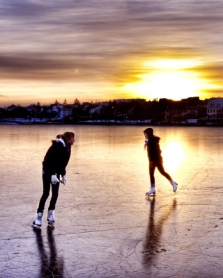 Ice Skating in Iceland Wallpaper for 240x320