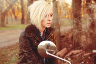 Blonde Biker Background for Android, iPhone and iPad