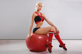Free Fitness Exercise Ball Blonde Picture for Android, iPhone and iPad