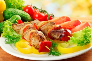Shish kebab from pork recipe Wallpaper for Android, iPhone and iPad