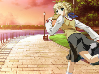 Screenshot №1 pro téma Fate stay night Saber Anime 320x240