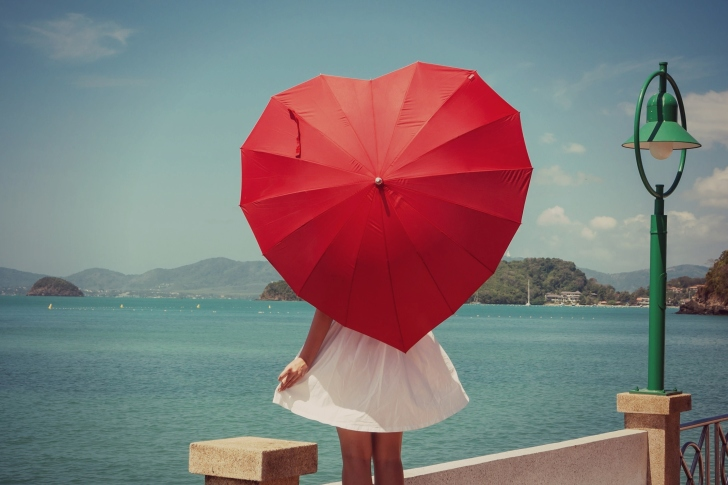 Red Heart Umbrella wallpaper