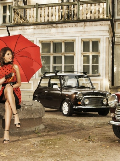 Обои Girl With Red Umbrella And Vintage Mini Cooper 240x320