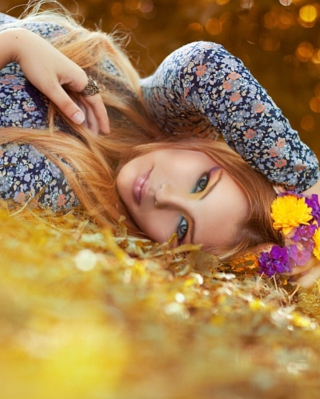 Romantic Girl With Flowers Wallpaper for iPhone 6 Plus