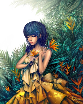 Girl In Yellow Dress Painting sfondi gratuiti per iPhone 6 Plus