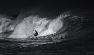 Black And White Surfing Background for Android, iPhone and iPad