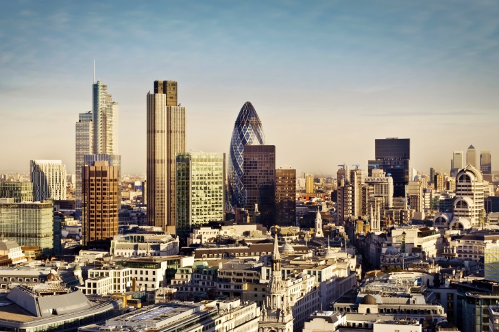 Fondo de pantalla London Skyscraper District with 30 St Mary Axe