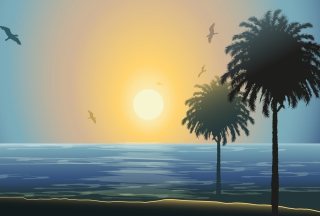 Sunset Behind Palm Trees Drawing Picture for Android, iPhone and iPad