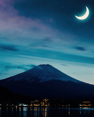 Free Mount Fuji Night Photo Picture for Nokia Asha 300