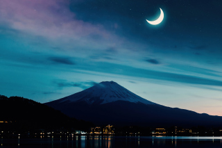 Mount Fuji Night Photo Background for 1366x768