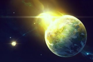 Giant Planet Yellow Light Explosion Background for Samsung Galaxy Tab 3 10.1
