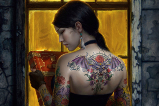 Tattooed Girl Background for Android, iPhone and iPad