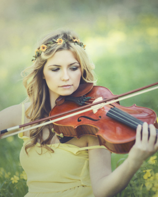 Girl Violinist Background for Nokia X1-00